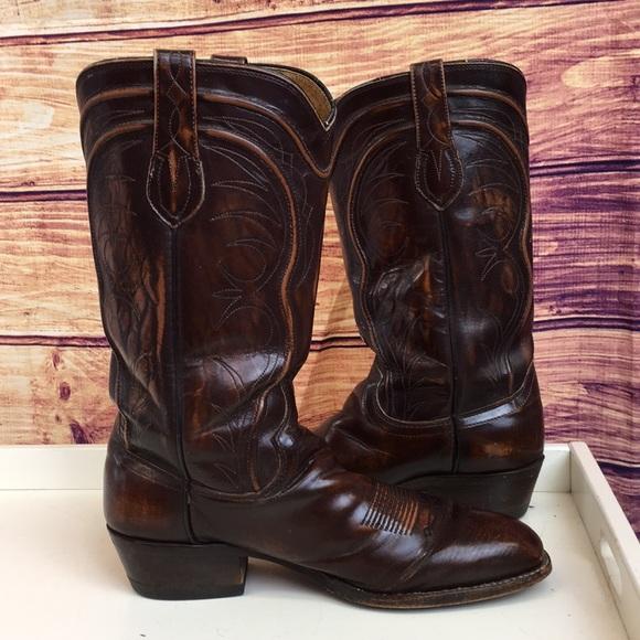 160094c6363 Biltrite Dark Brown Leather Western Cowboy Boots